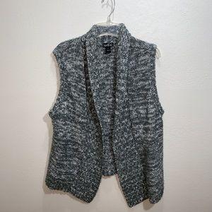 Erika space dye sleeveless cardigan Sz XL gray